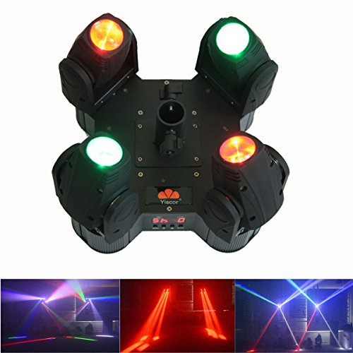 Yiscortm Stage Lighting Led Beam Light 80W Rgbw 4In1 Cree Full Color 4 Moving Heads Dmx512 For Club Home Garden Dj Disco Party Effect (Pack Of 1)