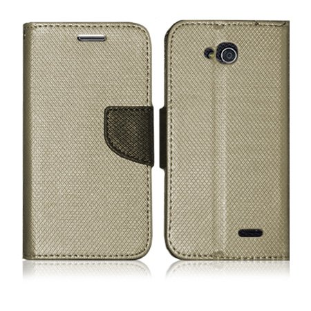 Lg Optimus L90 (D415) Gold Stand Fashion Flip Wallet