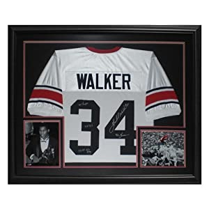 Herschel Walker Autographed Georgia Bulldogs (White #34) Deluxe Framed Jersey w  4... by PalmBeachAutographs.com