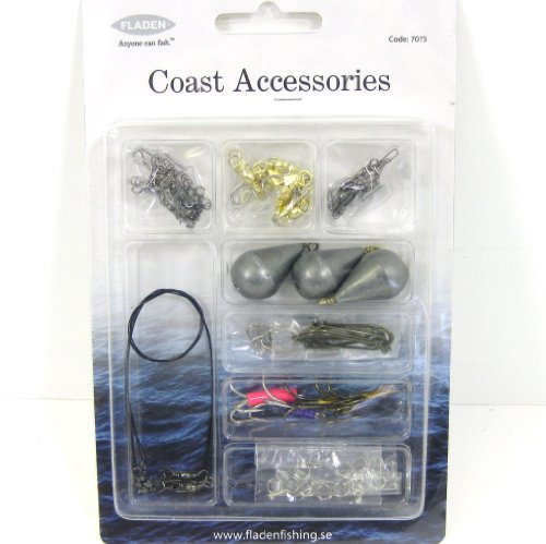 Fladen Coast Accessories Tackle Pack - Swivels, Snap Swivels, Sinkers, Single & Treble Hooks, Traces & Rings
