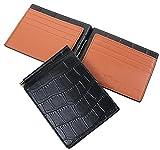 【Legare】 マネークリップ 財布 薄型 (クロコブラック×ブラウン) 誕生日 プレゼント にも最適 (Legareオリジナル化粧箱入りにてお送りします)
