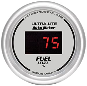 "Auto Meter 6510 Ultra-Lite Digital 2-1/16"" 0-280 ohm Digital Fuel Level Programmable Empty - Full Range Gauge"