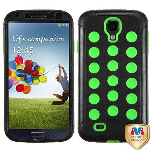 Fits Samsung I337 I9500 Galaxy S 4 Hard Plastic Snap On Cover Natural Black/Electric Green Tuff Hybrid At&T