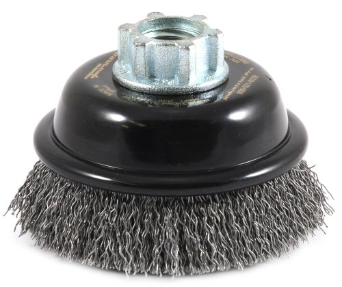 Forney 72856 Wire Cup Brush, Industrial Pro Coarse Crimped with 5/8-Inch-11 and M14-by-2.0 Multi Arbor, 3-Inch-by-.012-Inch