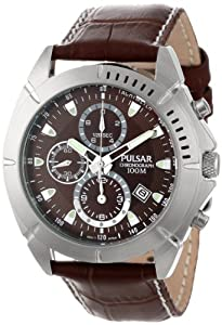 Pulsar Men's PF8303 Sport Chronograph Brown Dial Leather Strap Watch