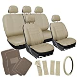 OxGord 21pc Tan Flat Cloth Seat Cover and Carpet Floor Mat Set for the Hyundai XG350 Sedan, Airbag Compatible, Split Bench, Steering Wheel Cover Included