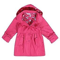 Arshiner Girl Kid Flower Waterproof Hooded Coat Jacket Outwear Raincoat Hoodies Rose Red 130(Age for 6-7Y)