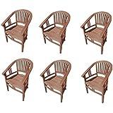 SAM® 6er Spar-Set Gartenstuhl Moreno, Sessel aus massivem Teak-Holz, hoher Sitzkomfort dank Armlehnen, ideal für Ihren Garten geeignet
