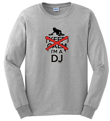 I Can't Keep Calm I'm a DJ Disc Jockey Mixer Long Sleeve T-Shirt Large Ash