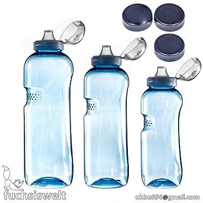 0,5L + 0,75L + 1 L Wasserflasche Tritan BPA frei + 3 x Trinkdeckel Flip Top Trinkflasche + 3 Gewindedeckel Blau