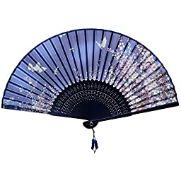Nestarfactory Silk Bamboo Collections Chinese Traditional Style Flower Butterfly Designs Handheld Folding Fan with Case (Blue)