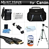 """""""Must Have"""" Accessory Kit For Toshiba Camileo X100 H30 HD Camcorder Includes Extended (1850Mah) Replacement PX1657 Battery + Ac/Dc Travel Charger + 50"""" Tripod + Deluxe Case + Mini HDMI Cable + Screen Protectors + More"""