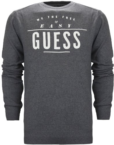 Guess Vassilly Men's Cotton & Wool Blend Jumper Charcoal Grey (M)