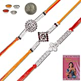 Little India Rajasthani Handcrafted 3 Pc Designer Silver Rakhi Gift 501