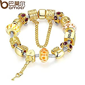 Color Charm BraceletBangle WithGlass Beads Pulseras MujerLuxuryPA1830