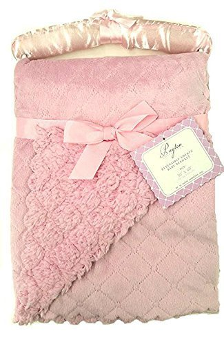 "Payton Collection Reversible Sherpa Baby Blanket ""Payton Light Pink"". 30x40 in Size. Super Soft Cuddly and Cozy. - 1"