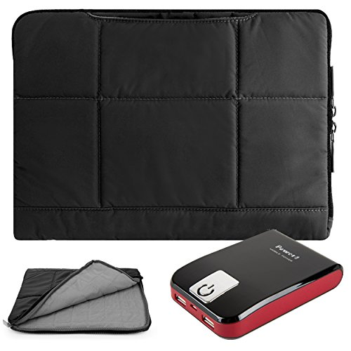 Pillow Zippered Sheen Quilted Sleeve [BLK] For Hipstreet 10 / Quad Core / Equinox 10.1/ HP Slate 8 Plus, Pavilion 10 x2, 10 G2 Tablets + Battery Bank