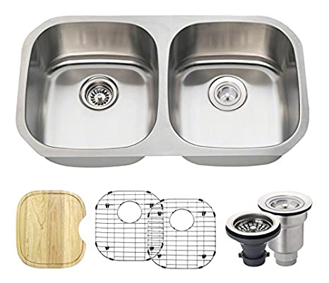 The MR Direct 502 16 Gauge Stainless Steel Kitchen Ensemble (Bundle - 6 Items: Sink, Basket Strainer, Standard Strainer, 2 Sink Grids, and Cutting Board)