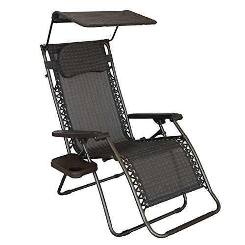 Abba Patio Oversized Zero Gravity Chair Recliner Patio Lounge Chair with Sunshade and Drink Tray