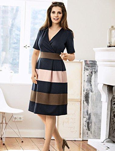 Meaneor Damen Elegant Kleid Bussiness Kleid A-Linie Kleid Streifen