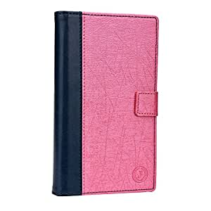 J Cover Satun Series Cover Leather Pouch Flip Case For Kenxinda R7 Dark Blue Pink