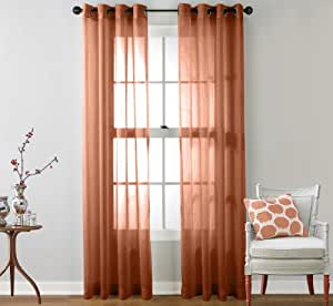 Hlc Me 2 Piece Sheer Window Curtain Grommet Panels Rust 84 Inch Long Home