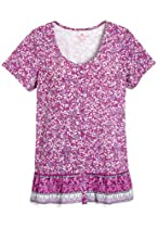 Plus Size Top In Slub-Knit With Border Print (Berry Pink Print,3X)