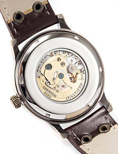 AMPM24 Men's Steampunk Bronze Skeleton Self-Winding Auto Mechanical Leather Wrist Watch PMW198 3