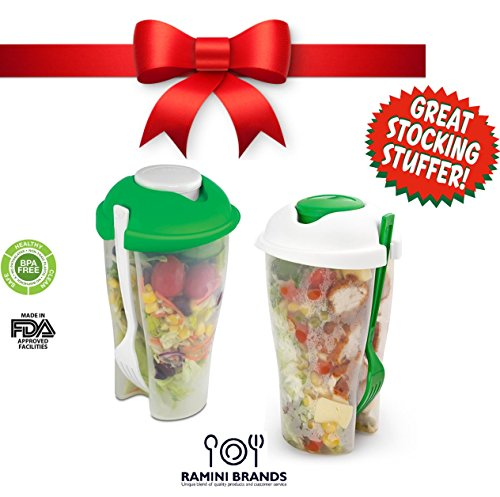 Ramini Brands® 2 Pack Salad To Go Serving Cup With Dressing Container And Fork