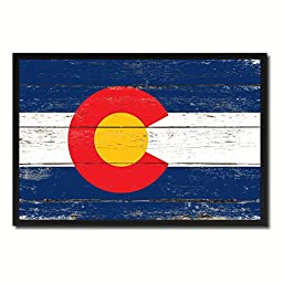 Colorado State Shabby Chic Flag Art Canvas Print Custom Picture Frame Office Wall Home Decor Gift Ideas, 19''x27''