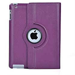 ATC New Purple 360 Degrees Rotating Leather Case Smart Cover with Stand and Sleep/Wake Function for Apple iPad 3, Built-in Magnet
