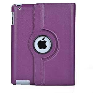 Atc Purple 360 Degrees Rotating Leather Case Smart Cover With Stand And Sleep/wake Function For Apple Ipad 3 Built-in Magnet
