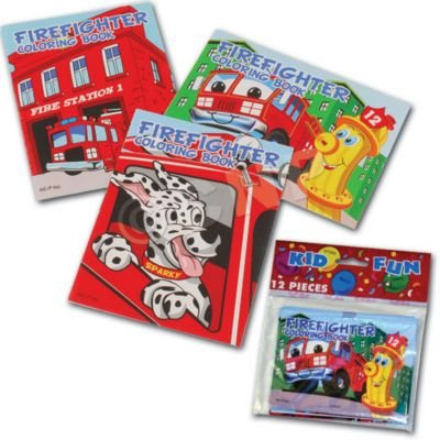 US Toy Assorted Fireman Fire Engine Mini Coloring Books (Lot of 12) (Fire Engine Party Supplies compare prices)