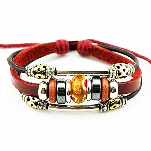 [More Fun Flower Murano Beads Multilayer Red Leather Metal Tube Rope Wrap Bracelet (Orange)] (Vinyl Cat Hood)