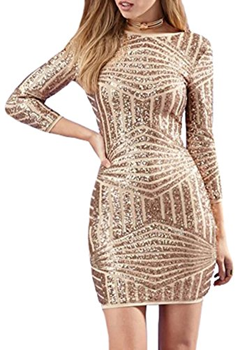 IDIFU Women's Asymmetric Stripes Sequins Backless Bodycon Pencil Dress Gold X-Large