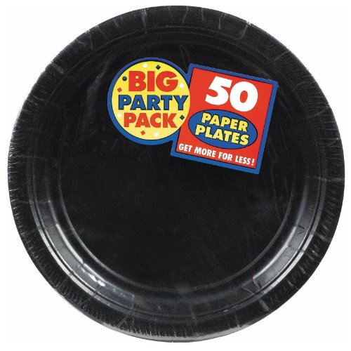Big Party Pack Paper Luncheon Plates 7-Inch, 50/Pkg, Black - 1