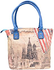 Omkar Shopy New Fashion Women's Ladies PU Hand Bag / Shoulder Bag (Light Pink ::Black) OS125003412