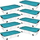 Plastic Storage Boxes Underbed Box Container with wheels and folding lid - 45ltr - Pack of eight