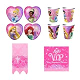 Disney Very Important Princess Dream Party Supplies Pack Including Plates, Napkins, Cups and Tablecover - 8 Guests