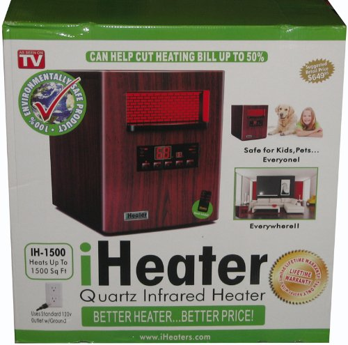 NEW iHeater IH-1500 Wood Finish Quartz Infrared Portable Home Heater