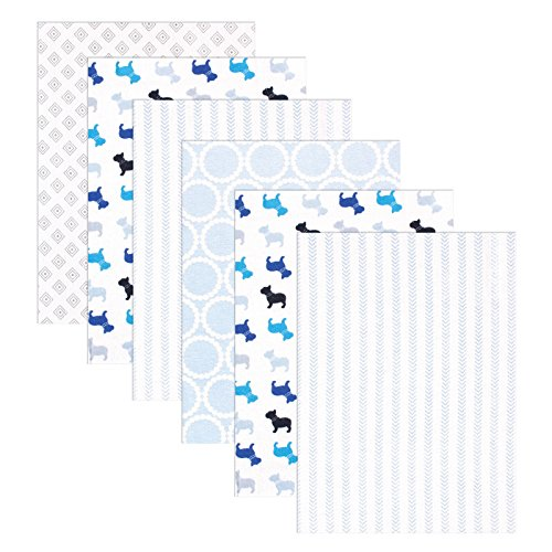 Luvable Friends Flannel 6 Piece Receiving Blankets, Bulldogs