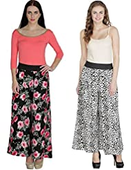 Shoping Fever - Designer And Stylish Womens Plazzo - Combo Pack (Floral And Animal Colour) - Black And Black