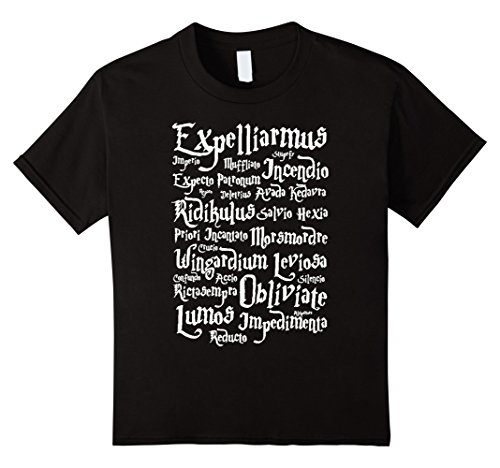 Harry Potter T-Shirt - Harry Potter List Of Spells Tshirt - Kids 10 - Black
