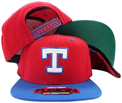 Texas Rangers Red/Blue Two Tone Fusion Snap Adjustable Snapback Hat / Cap