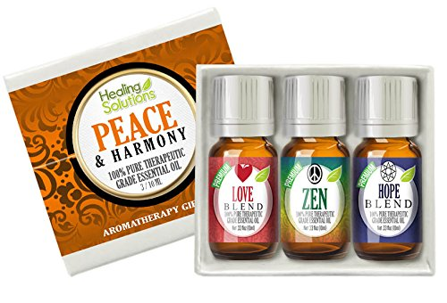 Peace & Harmony Blends Set 100% Pure, Best Therapeutic Grade Essential Oil Kit - 3/10mL (Love, Hope, and Zen)