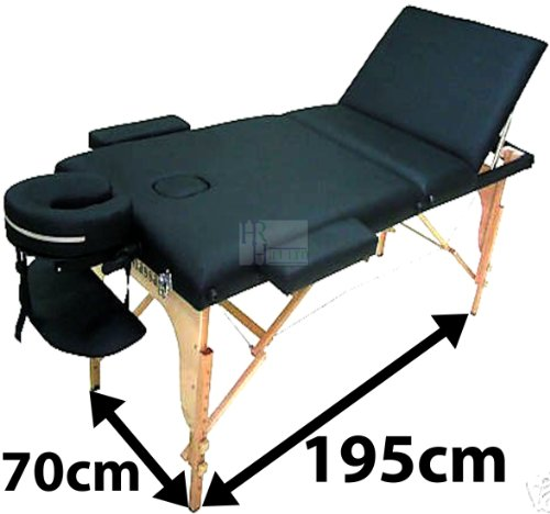 LIGHTWEIGHT PROFESSIONAL BLACK 3-SECTION PORTABLE MASSAGE TABLE COUCH BED SPA ONLY SOLD BY HRH HILL LTD