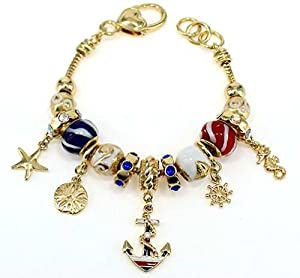 Sealife Nautical Theme Gold Anchor Rope Rudder Sand dollar Starfish Sea horse Charm Multi Bead Bracelet in a Gift Box by Jewelry Nexus