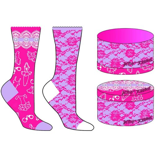 Hot Pink Multi-color Betsey Johnson 2 Pack Lingerie Lace Sock Gift Box