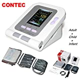CONTEC 08A FDA Approved Fully Automatic Digital Upper Arm Blood Pressure Monitor Adult, Child, Pediatric Modes & Cuffs(3 Cuffs) (Tamaño: 3 cuffs(Adult,Child,Infant))