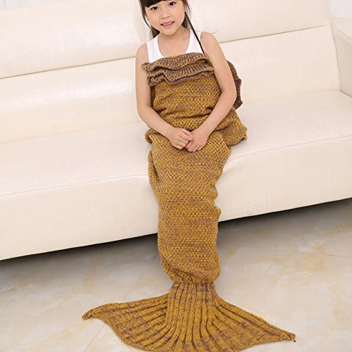 Kuoser Mermaid Tail Blanket super soft Handcrafted Crochet Warm sofa sleeping Bag Rug All seasons falbala Bedding Throws for kids,Yellow (Mermaid Sewing Kit compare prices)